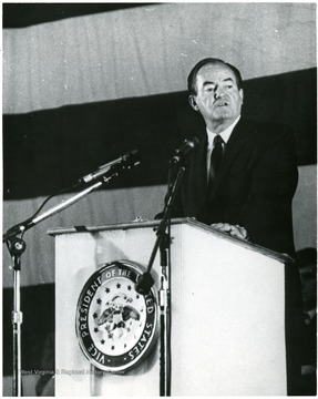The Vice President of the United States Hubert Humphrey speaks at WVU for 100th Anniversary events.