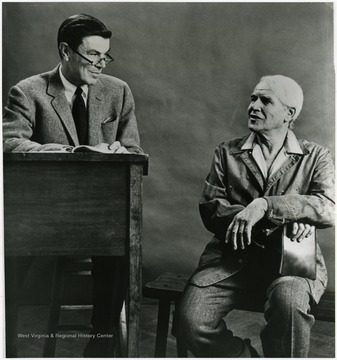 'Will Geer and the commentator perform in 'An Evening's Frost,' Feb. 28, 1967.'