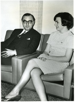 'Ambassador William Leonhart, U.S. Ambassador to Tanganyika and the first Ambassador to Tanzania, chats with WVU co-ed Debbie Anderson.  Leonhart appeared on the Alumni Headliner Series on April 6, 1967, returning to his Alma Mater to speak with students.'