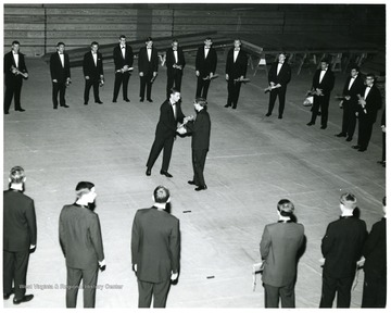 Initiation ceremonies for Helvetia, the Sophomore Men's Honorary Society.