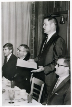 'David Hardesty (far left) as student body president, with David Hess, Paul Selby, and Jim Watkins.'