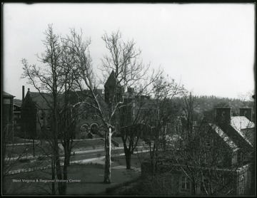 A corner of Commencement Hall, Administration Building, Chemistry and Law School, possibly taken from Martin Hall.