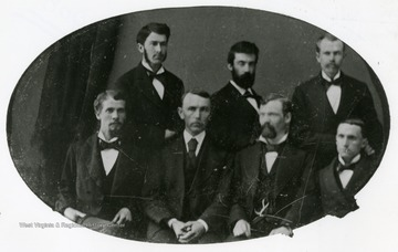 A portrait of Class of 1878. Top row: Enoc J. Marsh, J.R. Thompson; Ben Morgan; Bottom row: A.G. Dayton, A.F. Courtney; J.M. Lee and Dan Rich.