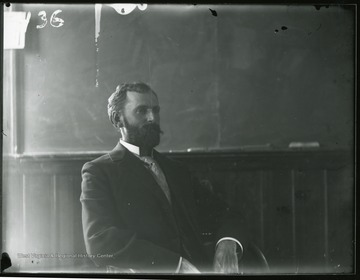Elmer Leach in a classroom of Science or Chitwood Hall.