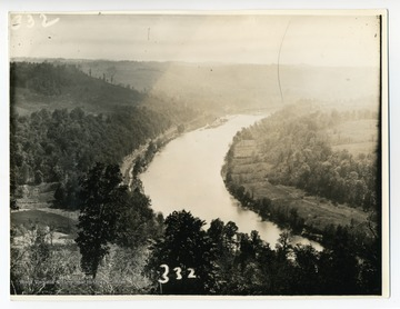 'View of the West side of the Monongahela River between Morgantown and Uffington. Taken from Dorsey's Knob.'