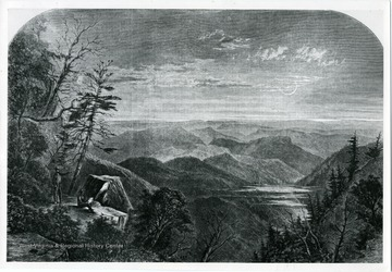 Showing two men in the lower left corner on a bedrock admiring mountain view.