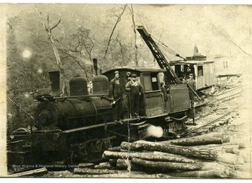 'R. Chafey, owner. Pete Chanel was the engineer on this log train'.