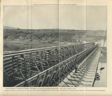 'U.S. Improvement, Great Kanawha River, West Virginia. Showing the weir part of the dam (from the center pier looking toward the abutment) after the wickets and service bridge had been placed inside the cofferdam. The wickets and service bridge standing.'