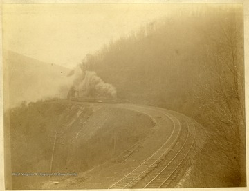 A locomotive engine on B. & O. R. R. near Buckhorn wall ( a part of 17 mile grade on Cheat River) in Preston county.