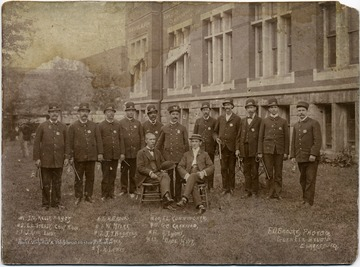 1. I.M. Kelly, Major; 2. E.L. Stealy, Chief Police; 3. J. Howe, Lieut.; 4. P.H. Shields, Clerk; 5. R. Brooks; 6. W. Myers; 7. J.T. Boggess; 8. J. Sees; 9. H. Lewis; 10. J.L. Cunningham; 11. George Crawford; 12. A. Lyons; 13. Wade Huff.