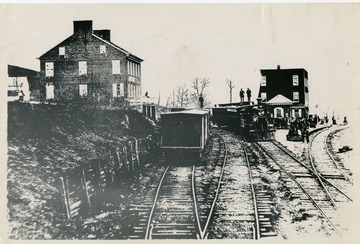 'Scenes at Hanover Junction (Now Doswell) Virginia during the war between the states, showing Virginia Central Tracks, photo by Brady.  Page 95, book Lincoln Camera Man, Matthew B Brady by Roy Meredith shows this picture over inscription Burke Station, O. & A., R.R..'