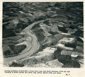'Looking southwest at mile 230.5 across State line into North Carolina; fifth and last crossing in middle ground just above long riffle; Spurlin Ford just below.'