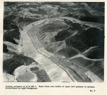 'Looking southwest at mile 220.1.  Boyer ferry near middle of upper left quadrant of picture.  Little River in right background.'