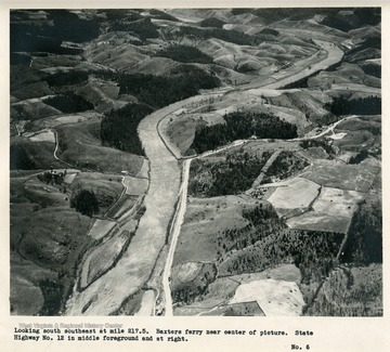 'Looking south southeast a mile 217.5.  Baxters ferry near center of picture.  State Highway no. 12 in middle foreground and at right.'