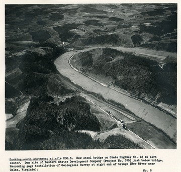 'Looking south southwest at mile 208.5.  New steel bridge on State Highway no. 12 in left center.  Dam site of Eastern States Development Company (Project No. 575) just below bridge.  Recording gauge installation of Geological Survey at right end of bridge (New River near Galax, Virginia).'