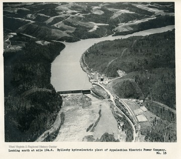 'Looking south at mile 194.6.  Byllesby hydroelectric plant of Appalachian Electric Power Company.