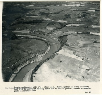 'Looking northwest at mile 174.4 about 1 p.m.  Barren Springs and ferry in middle; Reed Creek in upper left entering river just to left of picture; several wet-weather ponds in limestone sinks.'
