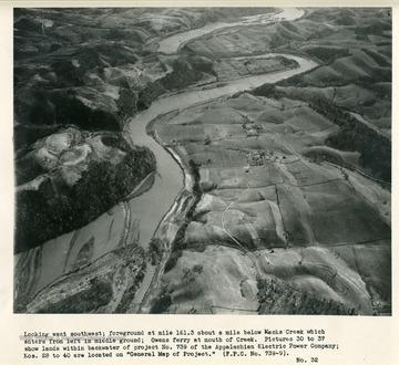 "'Looking west southwest; foreground at mile 161.3 about a mile below Macks Creek which enters from left in middle ground; Owens ferry at mouth of Creek.  Pictures 30 to 37 show lands within backwater of project no. 739 of the Appalachian Electric Power Company; Nos. 28 to 40 are located on ""General Map of Project"" (F.P.C. No. 739-9).'"