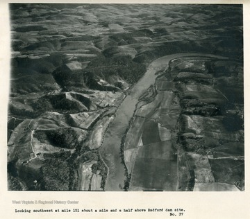 'Looking southwest at mile 151 about a mile and a half above Radford dam site.'