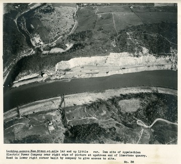 'Looking across New River at mile 149 and up Little River.  Dam site of Appalachian Electric Power Company near right edge of picture of upstream end of limestone quarry.  road in lower right corner built by company to give access to site.'