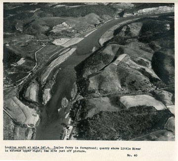'Looking south at mile 147.4.  Ingles ferry in foreground; quarry above Little River in extreme upper right; dam site just off picture.'