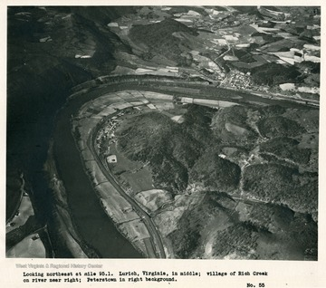 'Looking northeast at mile 95.1. Lurich, Virginia, in middle; village of Rich Creek on river near right; Peterstown in right background.'