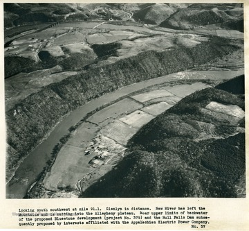 'Looking south southwest at mile 91.1.  Glenlyn in distance.  New River has left the Mountains and is cutting into the Allegheny plateau.  Near upper limits of backwater of the proposed Bluestone development (project No. 379) and the Bull Falls Dam subsequently proposed by interests affiliated with the Appalachian Electric Power Company.'