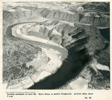'Looking southeast at mile 88.  Wylie Falls in middle foreground; picture taken about 5 p.m.'