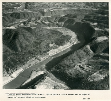 'Looking south southeast at mile 86.7.  Wylie Falls a little beyond and to right of center of picture; Glenlyn in distance.'