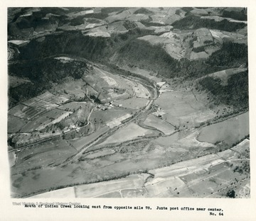 'Mouth of Indian Creek looking east from opposite mile 78.  Junta post office near center.'