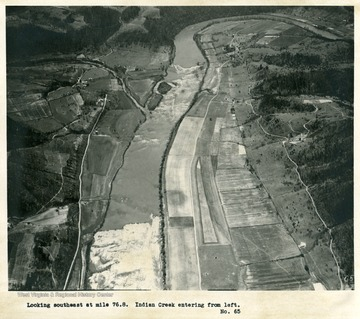 'Looking southeast at mile 76.8.  Indian Creek entering from left.'