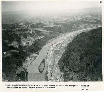 'Looking east southeast at mile 74.3.  Crumps Bottom in center and foreground.  Mouth of Indian Creek at right; Peters Mountain in distance.'