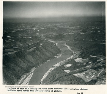 'Long view at mile 69.9 looking downstream north northwest across Allegheny plateau.  Bluestone River enters from left near center of picture.'