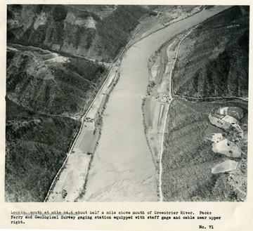'Looking south at mile 64.6 about half a mile above mouth of Greenbrier River.  Packs Ferry and Geological Survey gaging station equipped with staff gage and cable near upper right.'