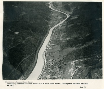 'Looking up Greenbrier River about half a mile above mouth.  Chesapeake and Ohio Railroad at left.'