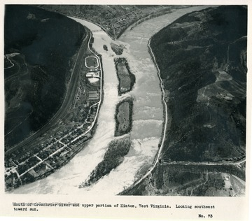 'Mouth of Greenbrier River and upper portion of Hinton, West Virginia.  Looking southeast toward sun.'