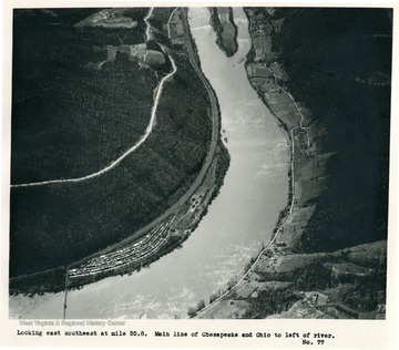 'Looking east southeast at mile 55.8.  Main line of Chesapeake and Ohio to left of river.'