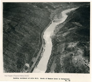 'Looking southeast at mile 48.2.  Mouth of Meadow Creek in background.'