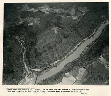 'Hawks Nest and mouth of Mill Creek.  Below here the two tracks of the Chesapeake and Ohio are together on west side of river.  Looking east southeast at mile 7.4.'