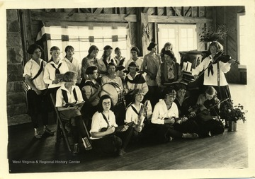 Members of 4-H music group with instruments.
