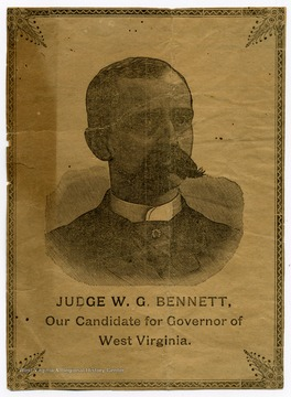 A newspaper advertisement for candidate for governor, Judge W. G. Bennett.