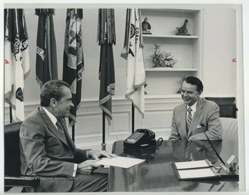 Senator Robert C. Byrd sitting and talking with President Richard Nixon.  Byrd Papers duplicate.  Originals at the R. C. Byrd Center for Legislative Studies at Shepherd University.