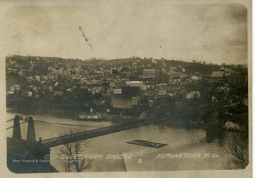 Morgantown and suspension bridge from Westover.