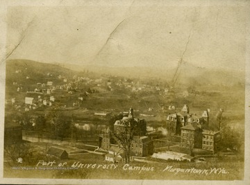 Looking down on Woodburn Circle on WVU Downtown campus: from further left Commencement Hall, Agricultural Experiment Station, Martin Hall, Woodburn Hall and Chitwood Hall.
