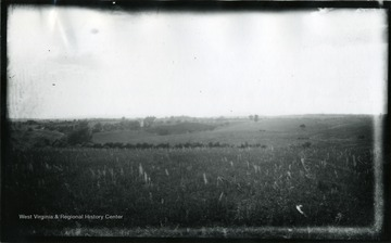 '113.D.67; July 31, 1884, Thursday 5:00 pm; Winchester is in the distance on the left. The house is known as the Dinkler house. Its present occupant was with us while we were taking this view. A piece of our road from Winchester is visible on the left and on the slope just in front of it is the sandy knoll from which No. 110 was taken the line of the road across the view is marked by the bushes.'