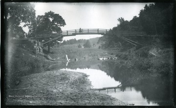'(74)D.25; Big cove foot bridge looking under and up. Carriage bridge washed away 8 years before; July 9, 1884, Wednesday 10-15 am. very clear'