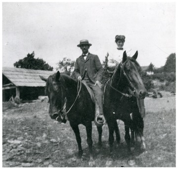 A portrait of a man and a woman on horseback. 'From an original of a photo of Helen Ellison.'