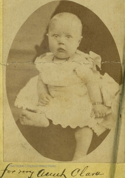 A portrait of Baby Evelyn Stanley, seven months and eight days old, from the Ellison-Dunlap families collection, Monroe County.