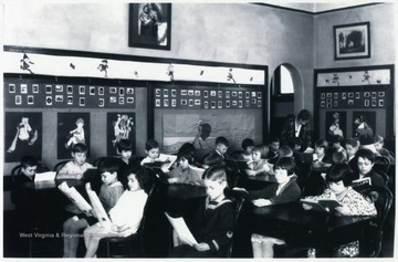 A photograph of a classroom, possibly in Morgantown.  Part of the Don Knotts Collection.