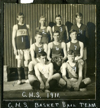 Members of Clarksburg High School Basket Ball team; from left to right: 1) Reves; 2) Hugill; 3) Powel; 4) Coffman; 5) Harrison; 6) Garret; 7) Heavner; 8) Smith; 9) Crummit.